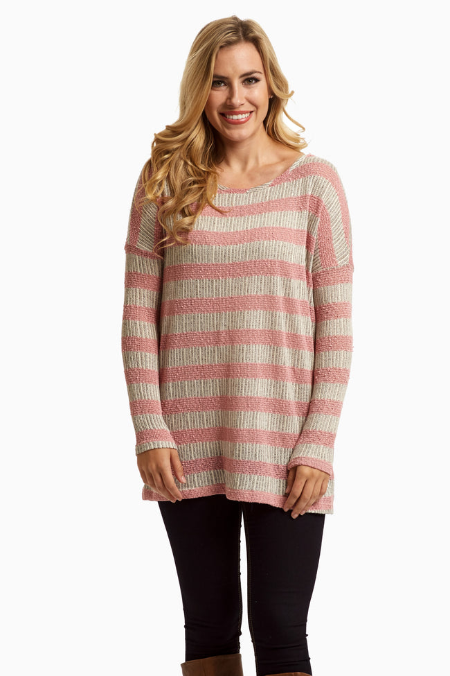 Pink Striped Lace Back Knit