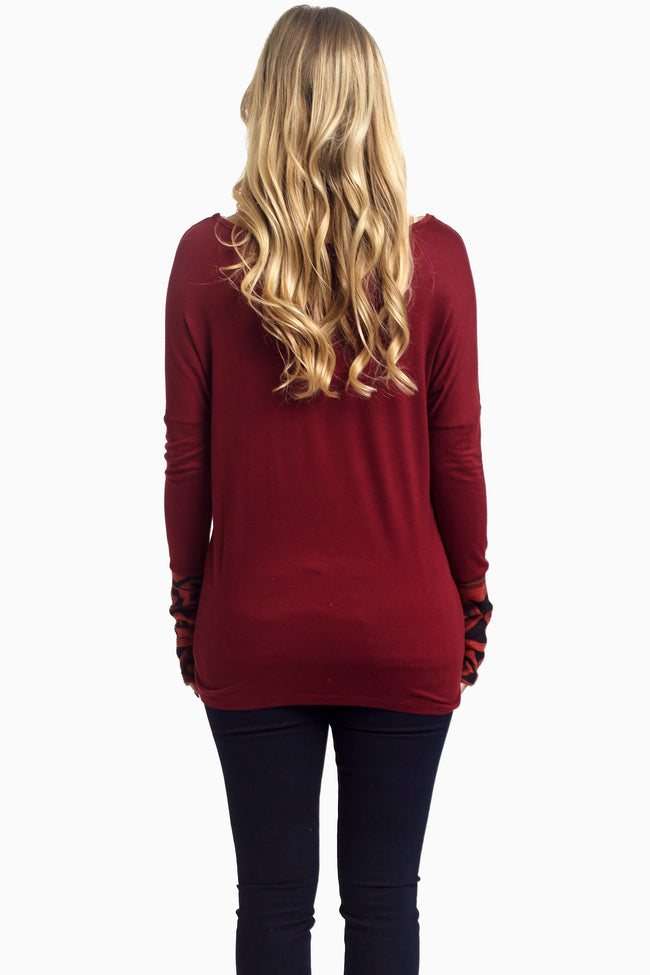 Burgundy Tribal Accent Pocket Front Maternity Top