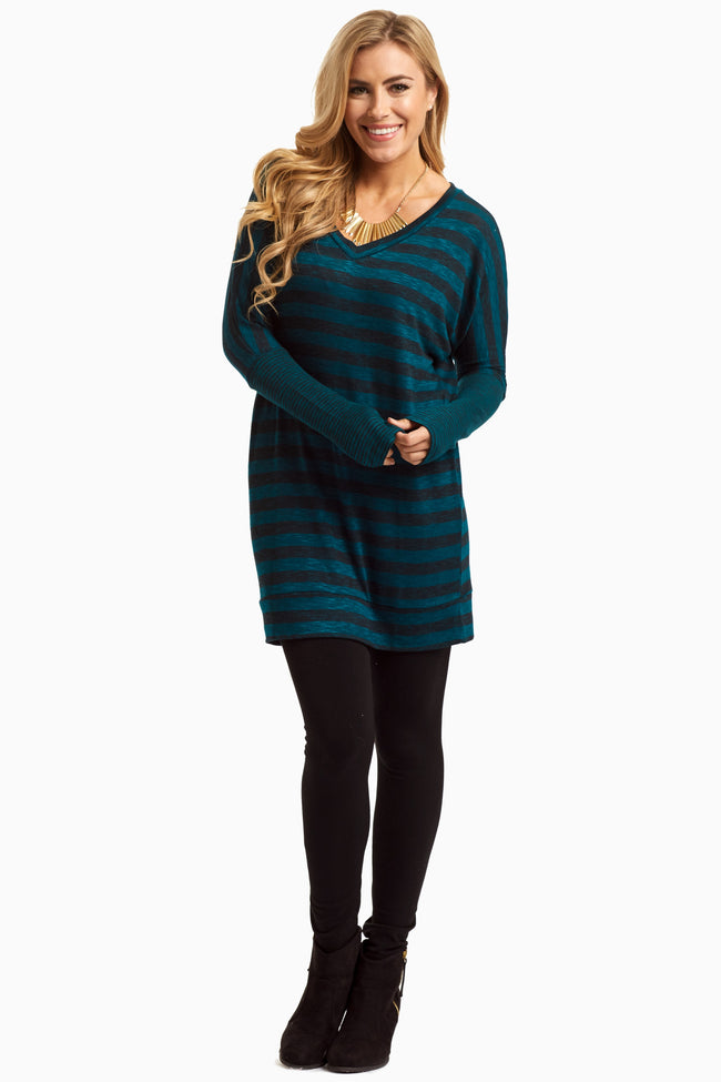 Teal Striped Dolman Sleeve Maternity Top