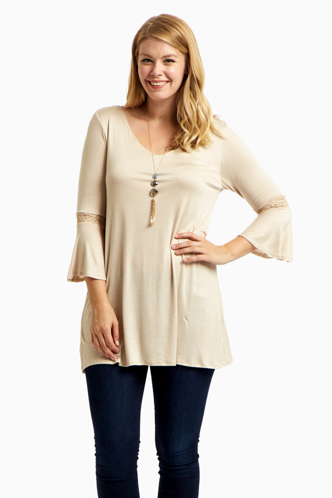 Beige Lace Accent Bell Sleeve Plus Size Tunic