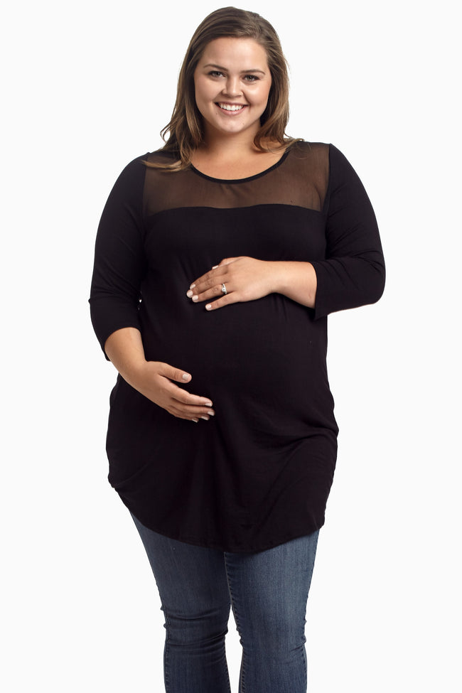 Black Mesh Accent Plus Size Maternity Tunic