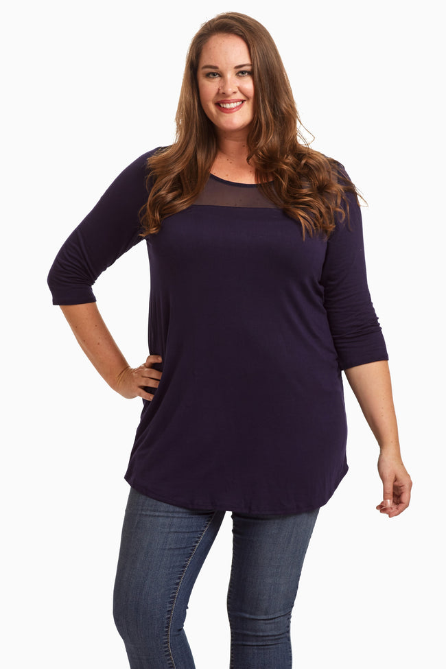 Navy Mesh Accent Plus Size Maternity Tunic