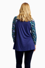 Blue Printed Sleeve Plus Size Top