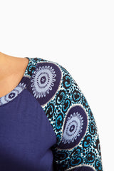 Blue Printed Sleeve Plus Size Maternity Top