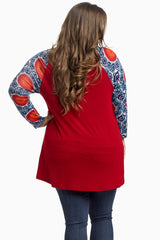 Red Printed Sleeve Plus Size Maternity Top