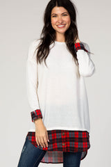 Ivory Plaid Shirttail Maternity Top