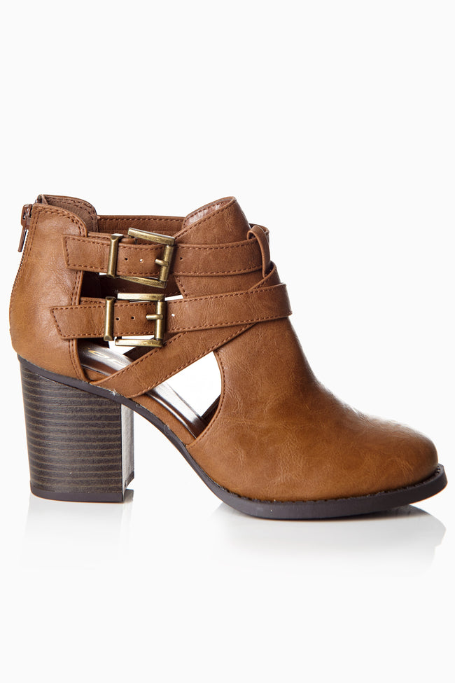 Tan Buckle Cutout Heeled Ankle Boot