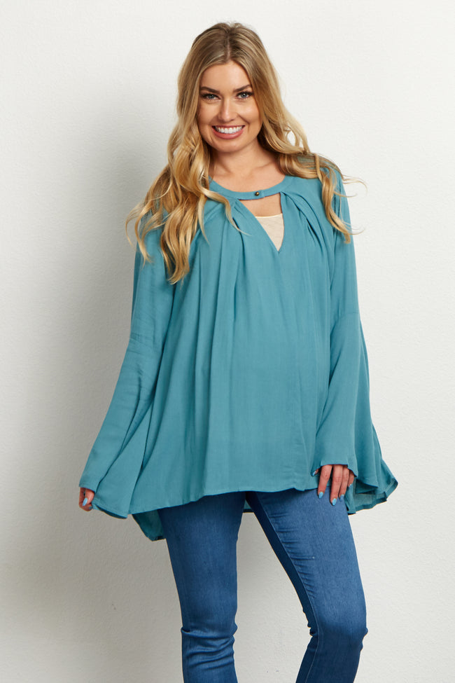 Dusty Blue Button Front Maternity Top