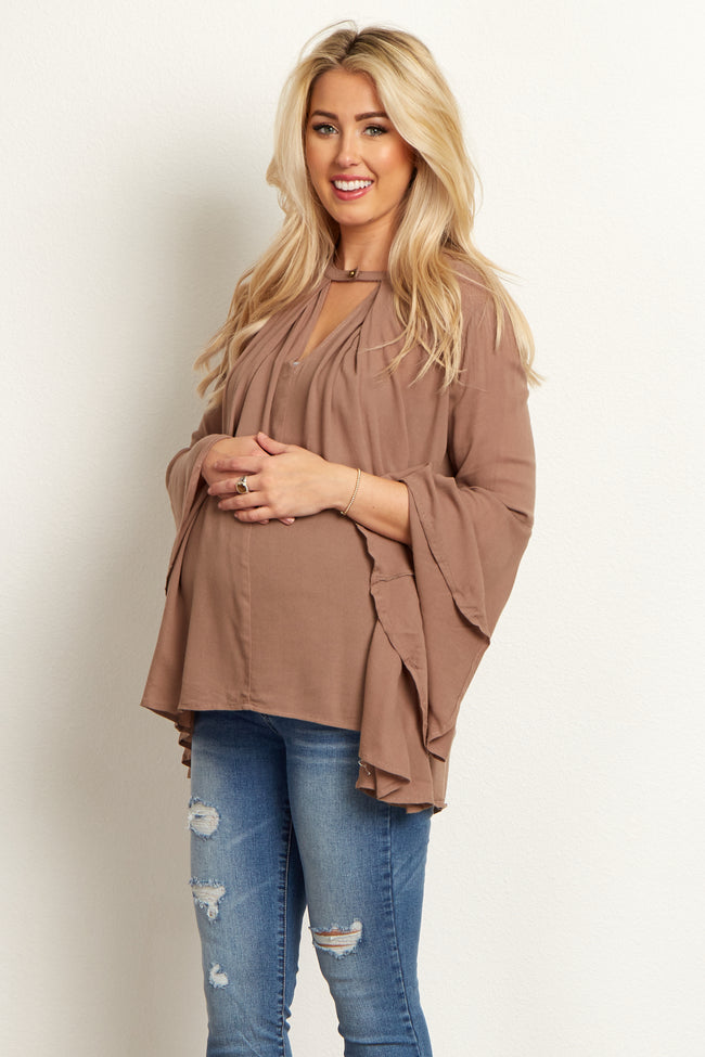 Mocha Button Front Maternity Top