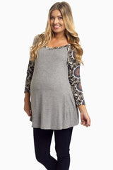 Grey Printed Sleeve Maternity Top