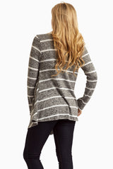 White Charcoal Striped Knit Cardigan