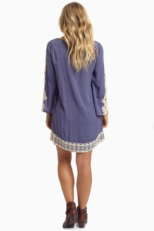 Slate Blue Open Crochet Sleeve Dress