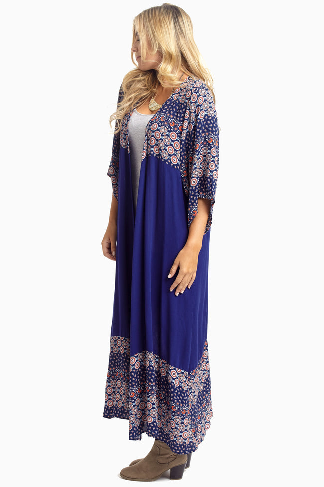 Navy Printed Colorblock Maxi Cover Up
