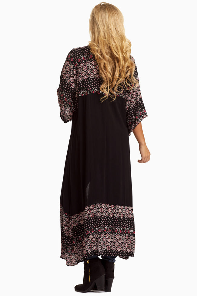Black Printed Colorblock Maxi Cover Up