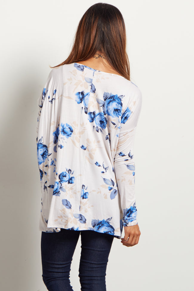 Ivory Blue Rose Floral Maternity Top
