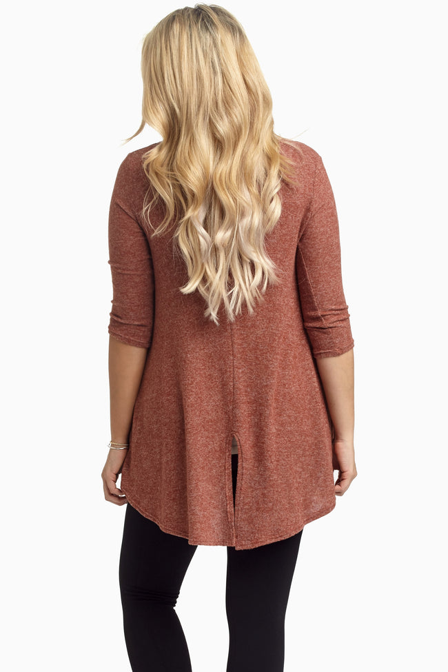 Rust Soft Knit Crochet Pocket Maternity Top