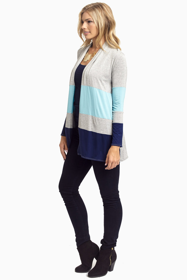 Grey Blue Colorblock Cardigan