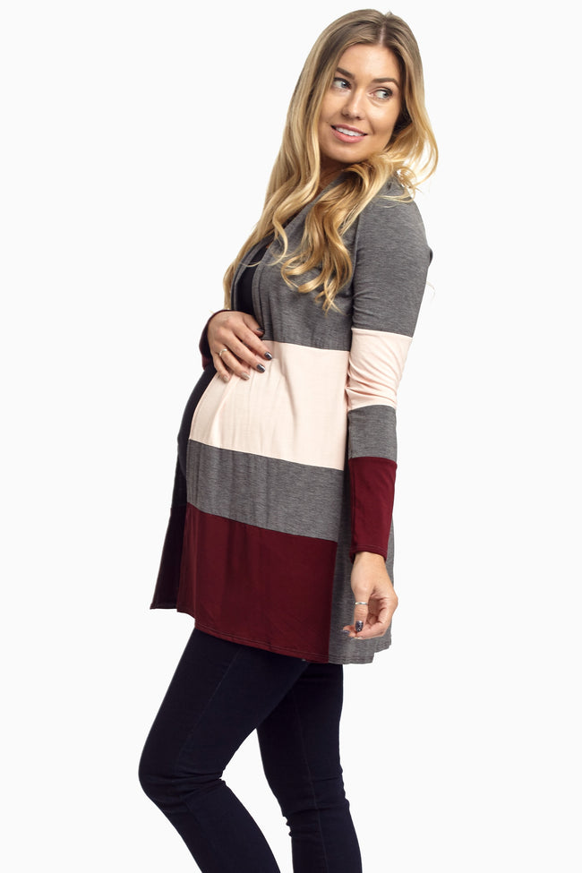Charcoal Burgundy Colorblock Maternity Cardigan