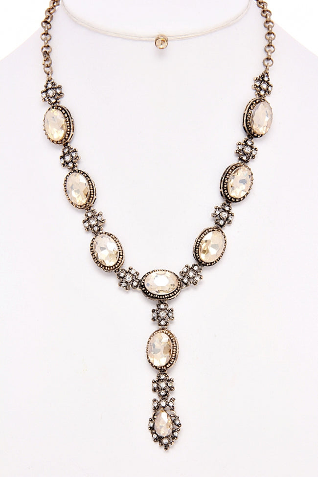 Champagne Oval Jewel Drop Necklace/Earring Set