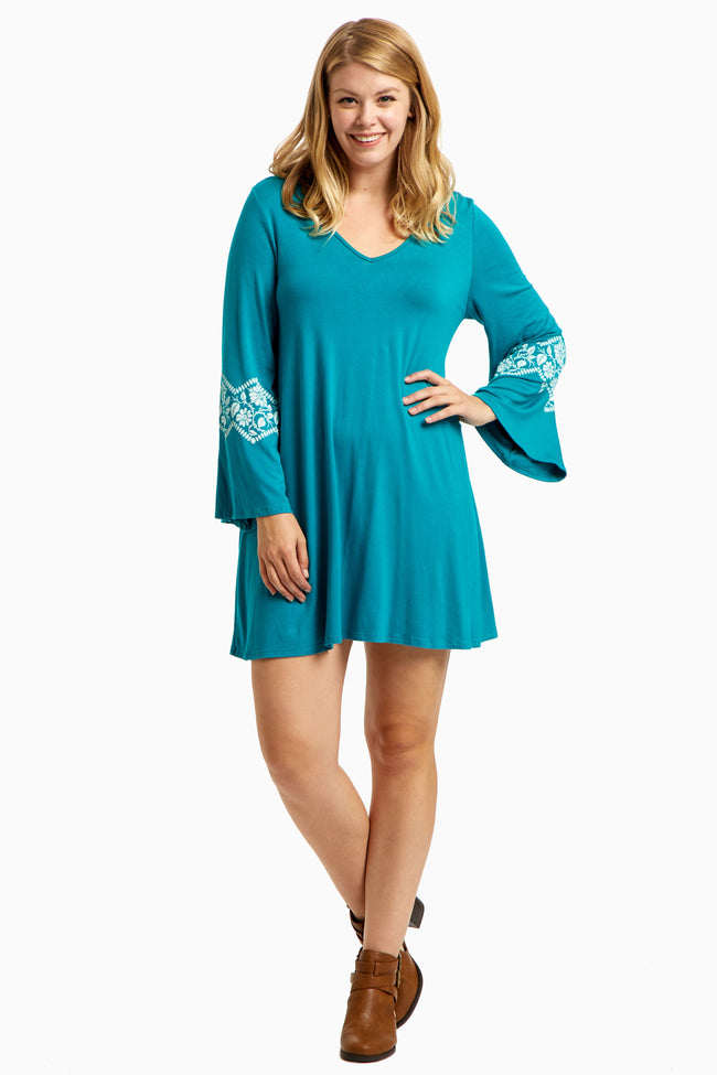 Jade Floral Accent Bell Sleeve Plus Size Maternity Dress