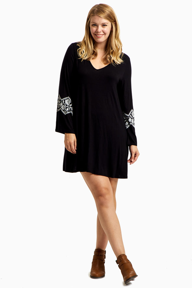 Black Floral Accent Bell Sleeve Plus Size Dress
