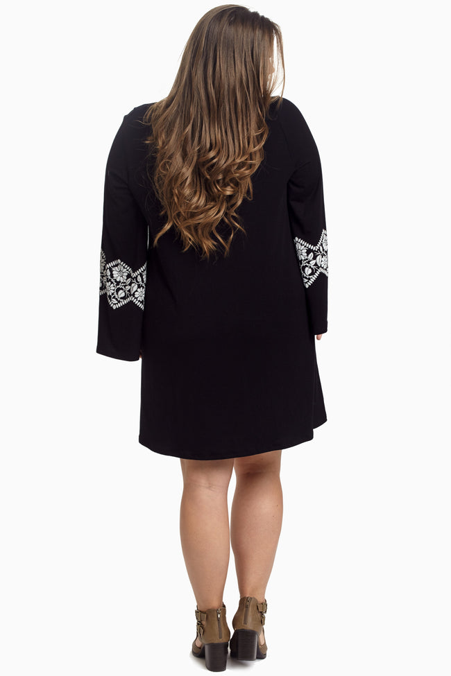 Black Floral Accent Bell Sleeve Plus Size Maternity Dress