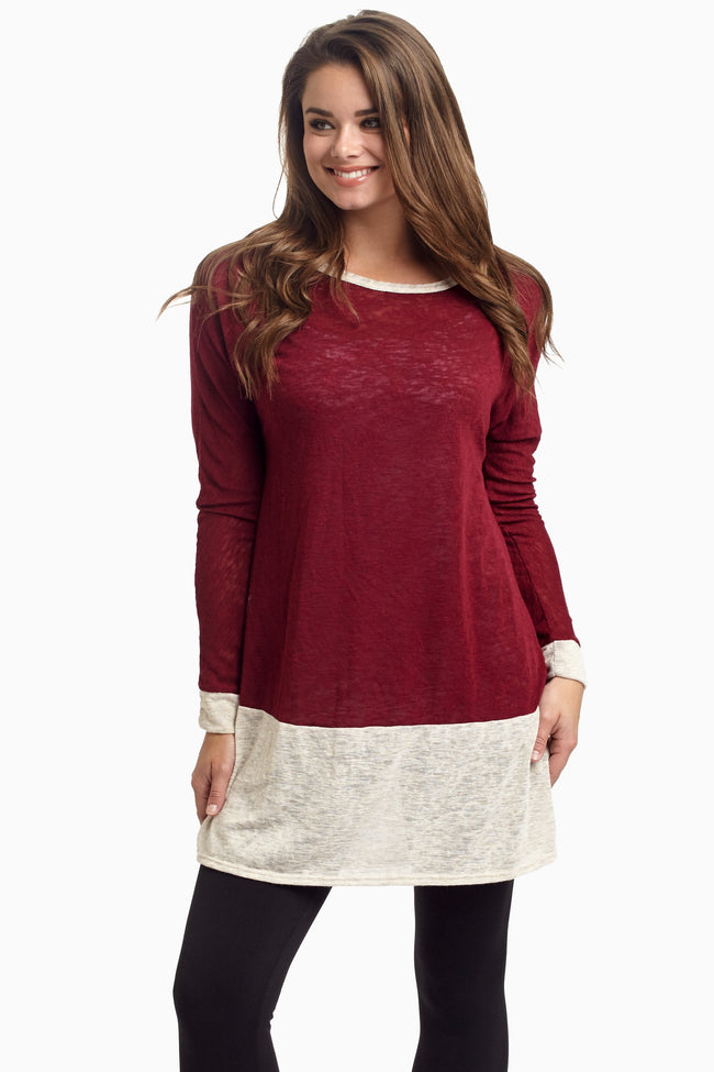 Burgundy Cream Colorblock Knit Maternity Top