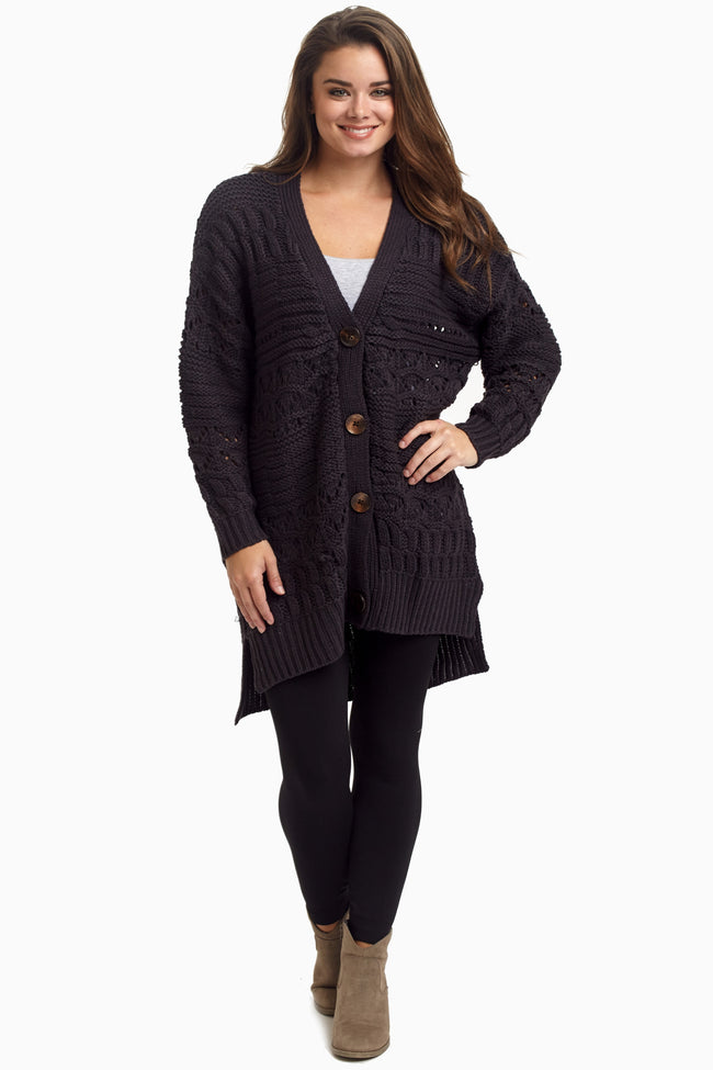 Charcoal Oversized Knit Button Up Maternity Cardigan