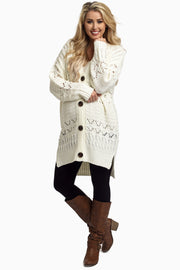 Ivory Oversized Knit Button Up Maternity Cardigan