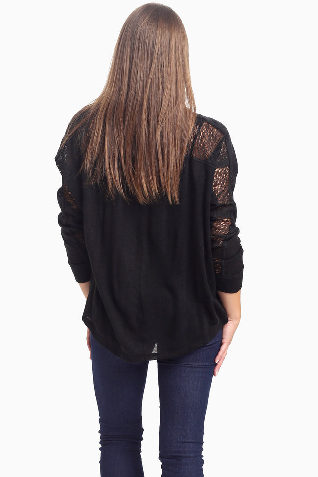 Black Open Knit Accent Top