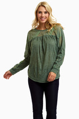 Olive Open Knit Accent Maternity Top