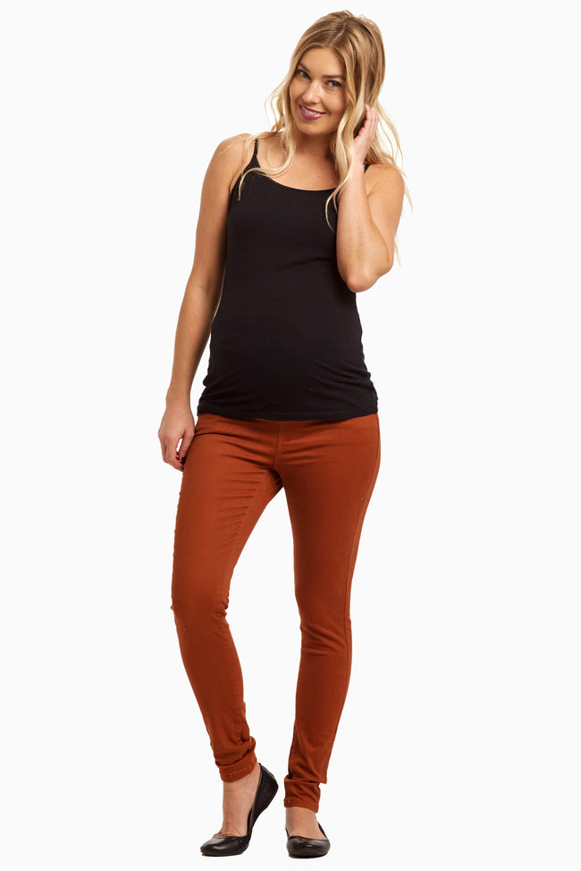 Rust Maternity Skinny Jeans