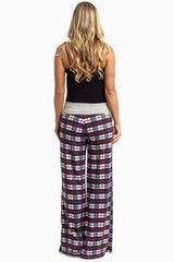 Burgundy Navy Plaid Tie Front Pajama Pants