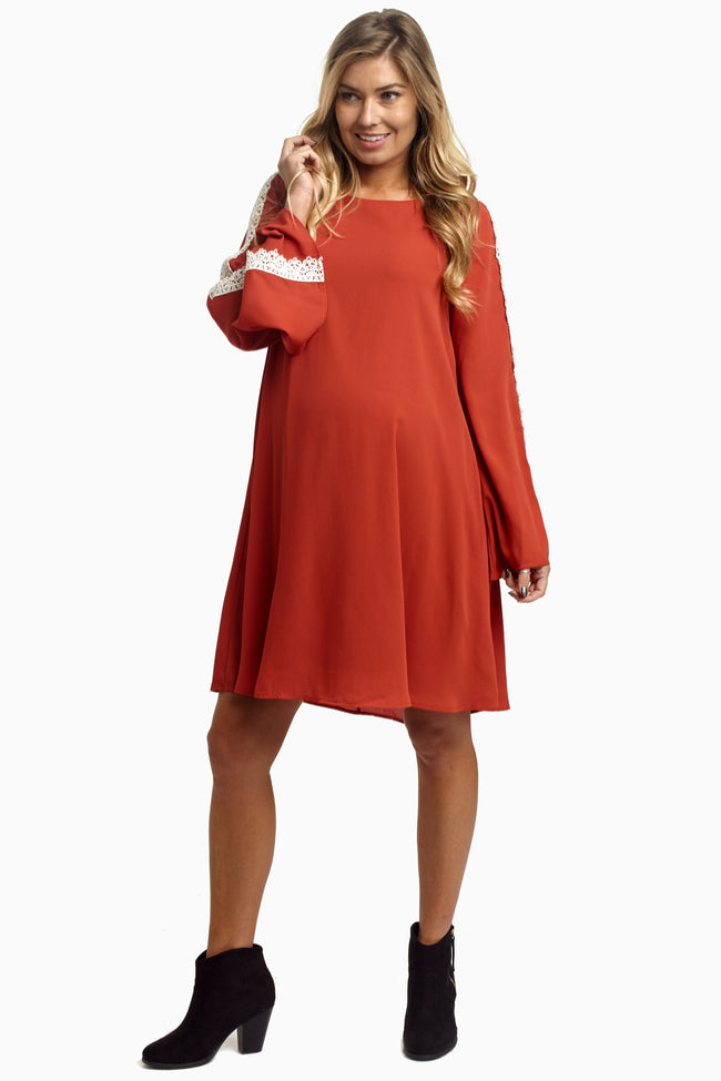 Rust Chiffon Crochet Sleeve Maternity Dress