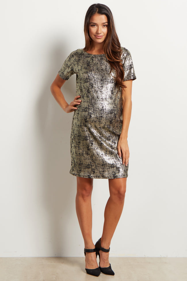 Black Gold Fitted Maternity Dress