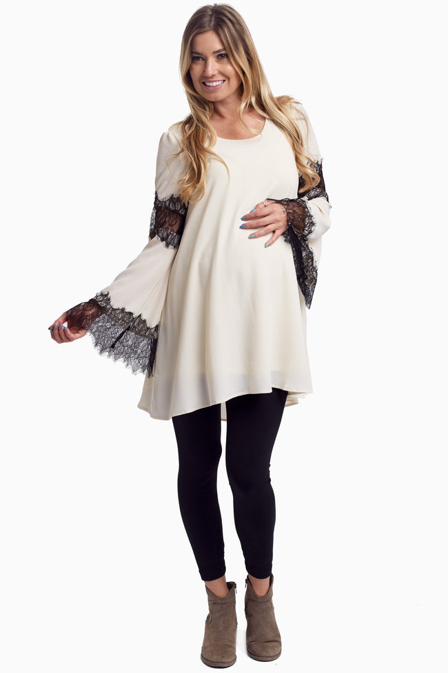 Beige Lace Accent Sleeve Maternity Tunic