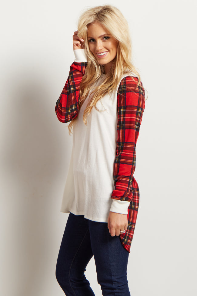 Ivory Plaid Accent Maternity Top