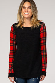 Charcoal Plaid Accent Maternity Top
