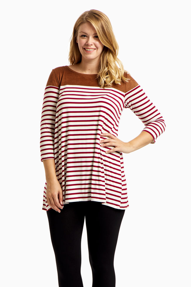 Burgundy Striped Suede Accent Plus Size Maternity Top