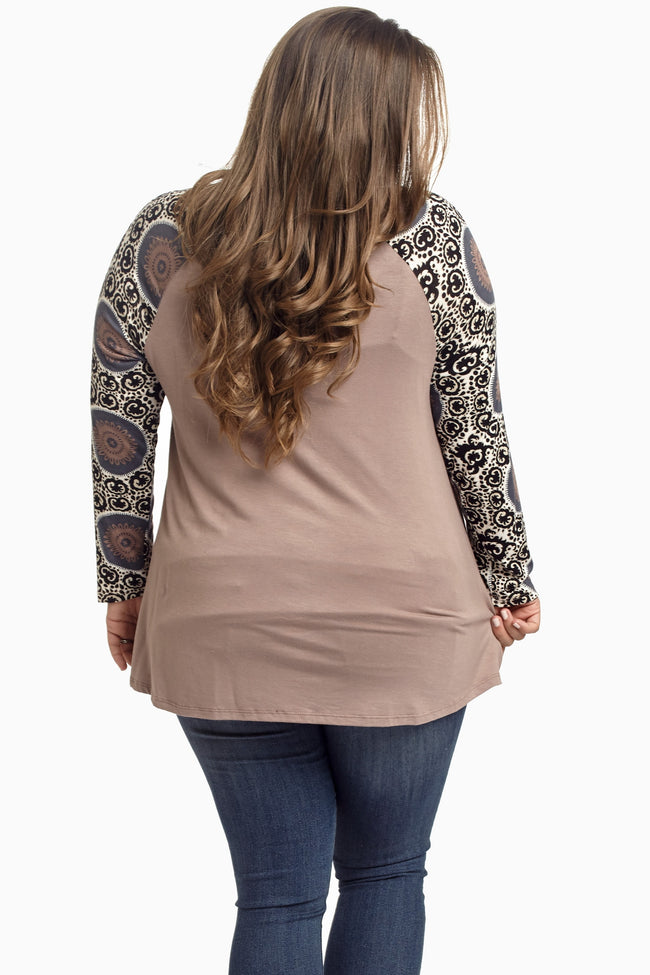 Mocha Printed Sleeve Plus Size Maternity Top