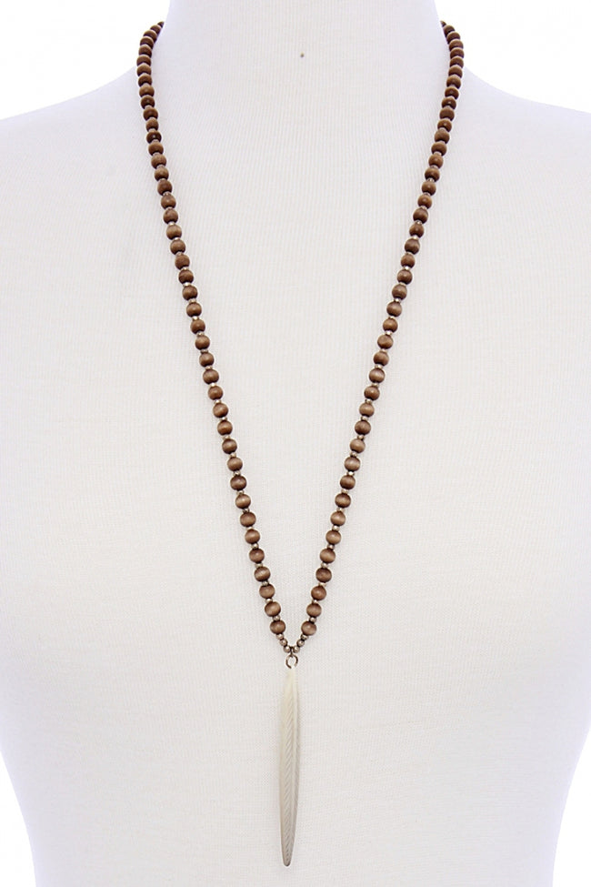 Ivory Feather Beaded Necklace