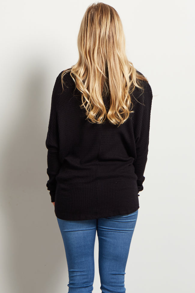 Black Cowl Neck Dolman Sleeve Knit Maternity Top