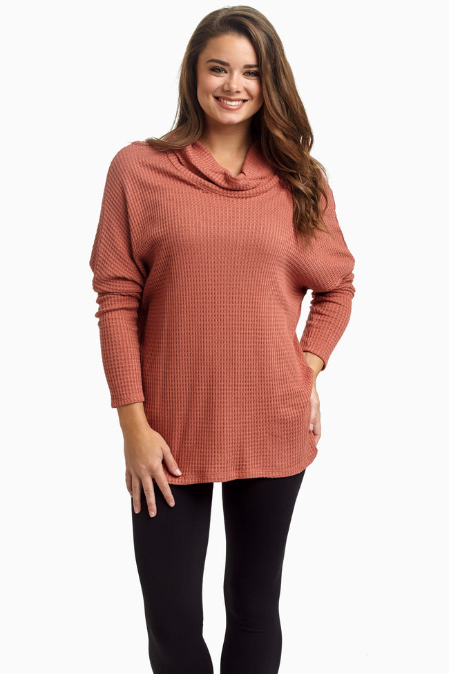 Rust Cowl Neck Dolman Sleeve Knit Maternity Top