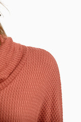 Rust Cowl Neck Dolman Sleeve Knit Top