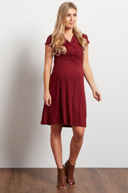 Burgundy Draped Front Maternity Dress