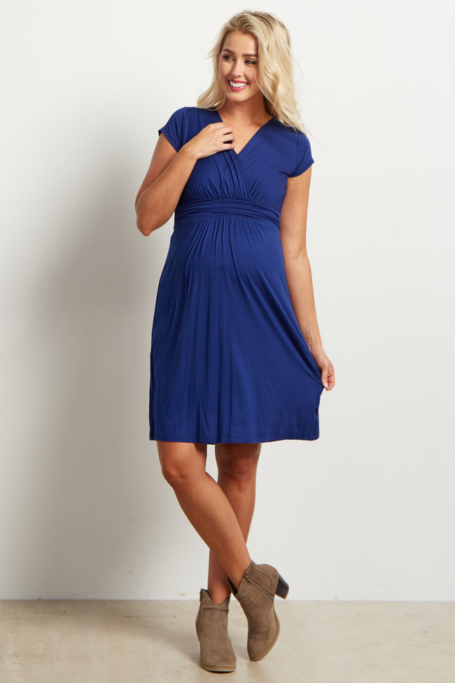 Navy Draped Front Maternity Dress