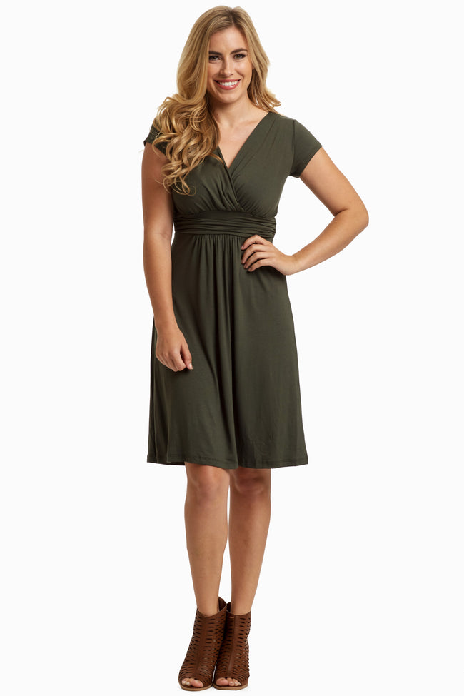 Olive Green Draped Front Maternity Dress