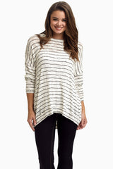 Ivory Black Striped Knit Sweater Maternity Top