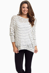 Ivory Navy Striped Knit Sweater Maternity Top