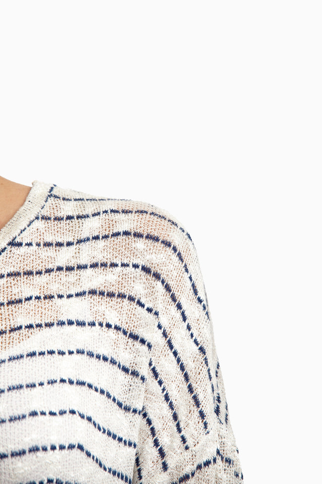 Ivory Navy Striped Knit Sweater Top